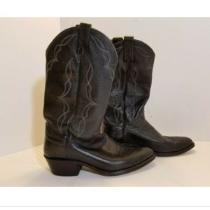 Vtg Dan Post Leather Cowboy Western Pull On Boots